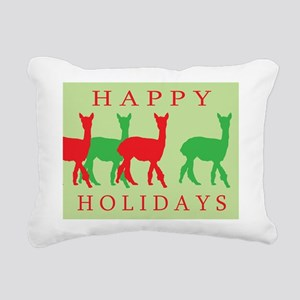 happy holidays alpacas green Rectangular Canva